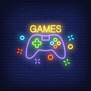 Console with Games lettering. Neon sign on brick background
